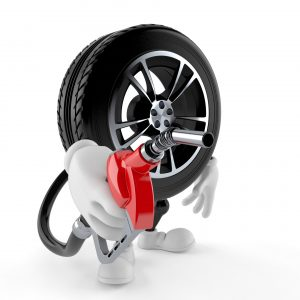 Car wheel character holding gasoline nozzle isolated on white background. 3d illustration